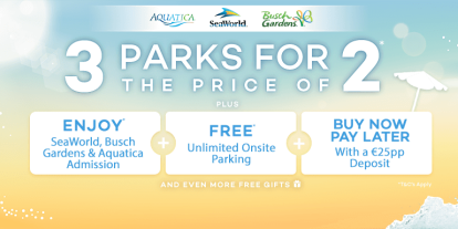SeaWorld Orlando 3 Parks for the Price of 2 Offer