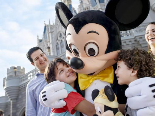Mickey with family in front of castle at Magic Kingdom