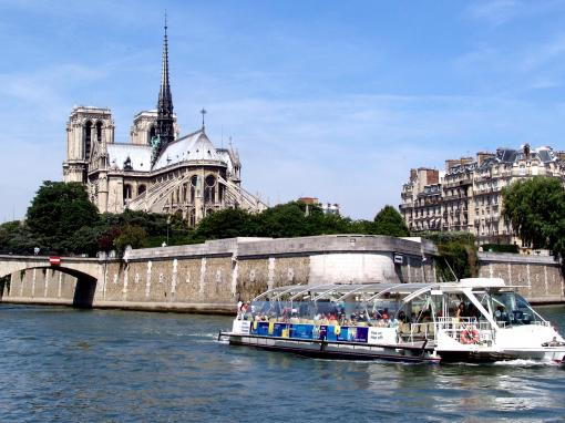 Batobus Hop-on Hop-off Sightseeing Cruise boat on the River Seine